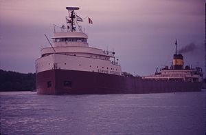 SS Edmund Fitzgerald in 1971 / SS Edmund Fitzgerald was an American Great Lakes freighter that sank in a Lake Superior storm on November 10, 1975, with the loss of the entire crew of 29. When launched on June 8, 1958, she was the largest ship on North America's Great Lakes, and she remains the largest to have sunk there. Nicknamed Mighty Fitz, Fitz, or Big Fitz, the ship suffered a series of mishaps during her launch...