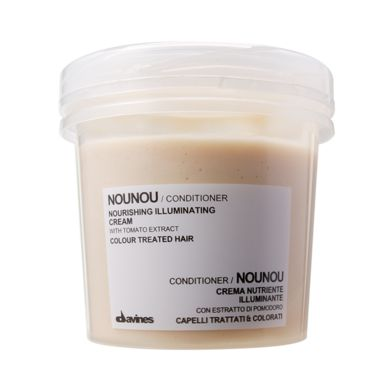 NOUNOU Conditioner.    It restructures and moisturizes the hair, prolonging the colour of chemically treated hair. It is ideal for chemically treated and coloured hair, as it has a deep restructuring action and protects the colour, restoring body and suppleness, maintaining the same luminosity and fullness of tone of the origin al colour.    Natural Active Ingredient: Tomato extract - to protect from free radicals.    NOUNOU Conditioner is a zero-impact, carbon-neutral product.