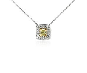 Double Halo Yellow Diamond Pendant in 18k White Gold (0.75 ct. tw.) #BlueNile