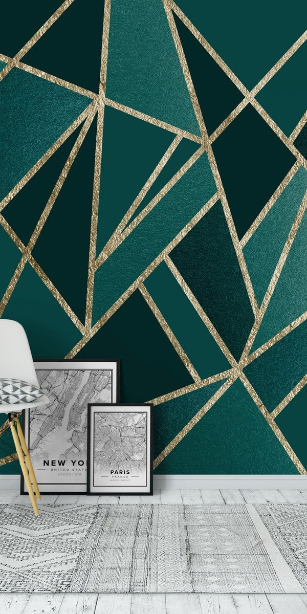 Teal Champagne Gold Geo 1 Wall Mural From Happywall Abstractlines Tealgeo Wallmural Scandipatt Geometric Wall Art Diy Geometric Wall Art Gold Painted Walls