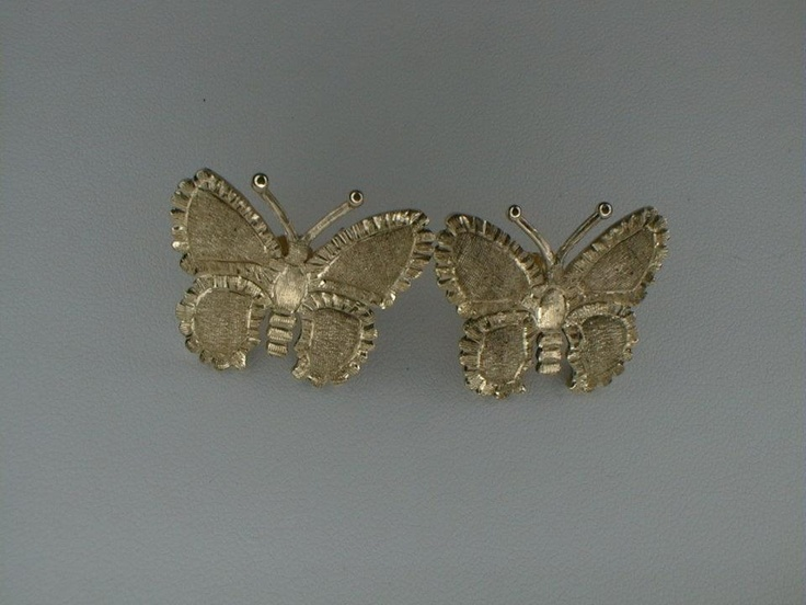 Handmade Yellow Gold Butterfly Earrings by Paolo Brunicardi Goldsmith in Marina di Carrara,Tuscany, Italy from 1991