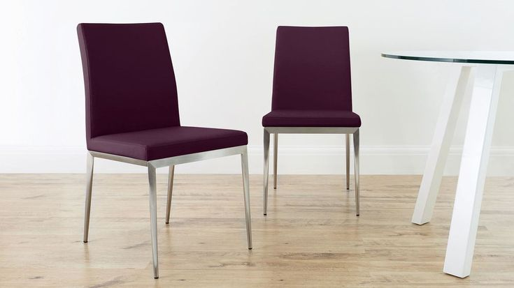 Purple Dining Chair with Brushed Metal Legs