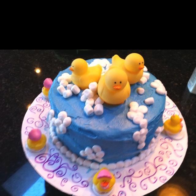 Rubber duckie baby shower cake.