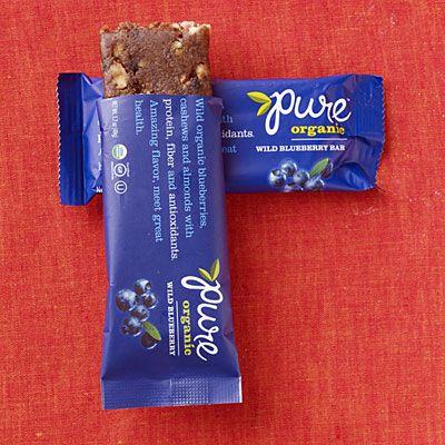 Wild Blueberry Pure Organic Bar   (190 cal, 6g protein, 0.5g sat fat, 3g fiber, 19g sugar)
