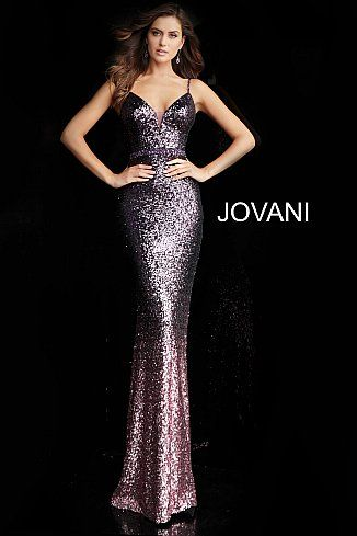 d90a1687135 Purple Spaghetti Straps Plunging Neck Prom Dress 65847