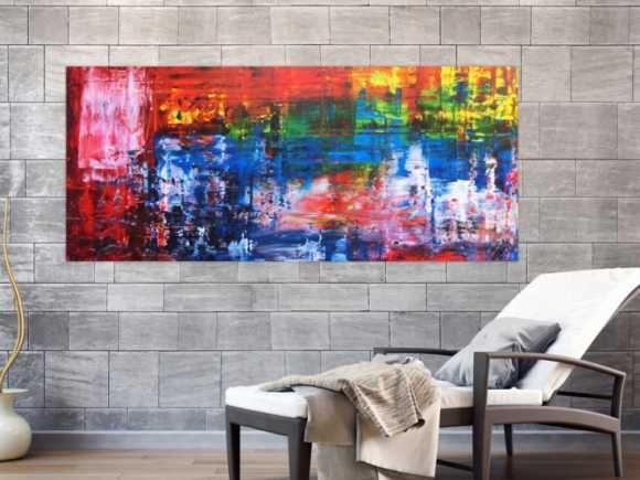 abstraktes gemalde bunt in spachteltechnik modern viele farben rot blau gelb 80x180cm von alex zerr abstrakte kunst auf leinwand preis panorama 120x40