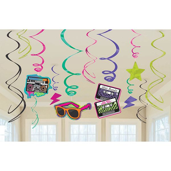 Totally 80s Swirl Decorations 12pc | Wally's Party Factory #80s #party #decor