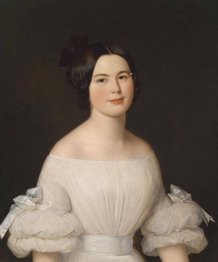 Einsle Anton (1801-1871) - Portrait of a Lady in a White Dress