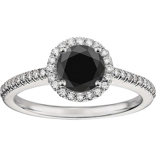 Black Diamond Halo Engagement Ring with Small White Diamonds