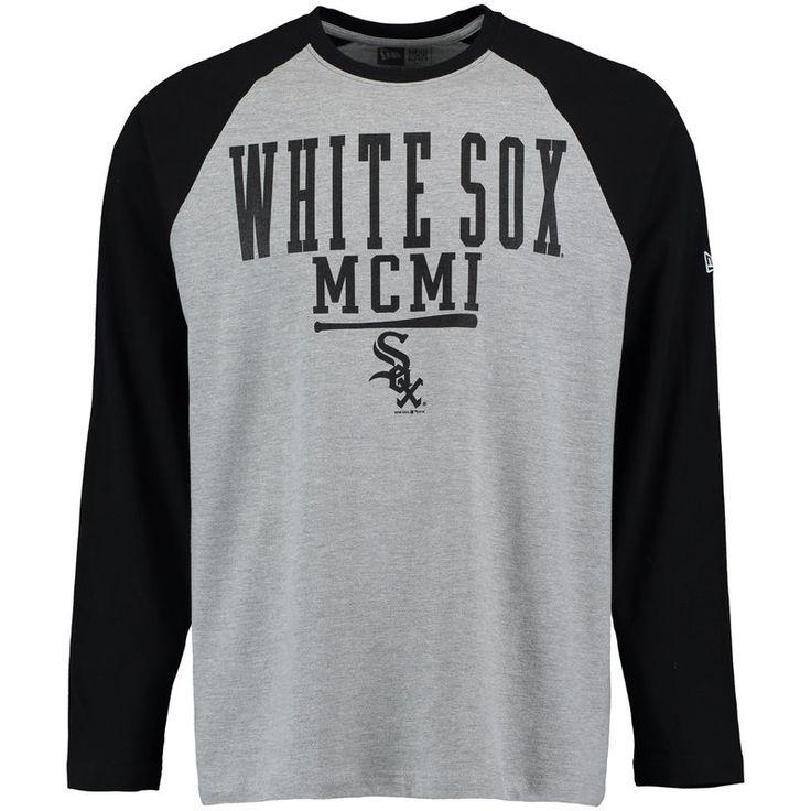 Chicago White Sox New Era Roman Numeral Long Sleeve Raglan T-Shirt - Heathered Gray/Black
