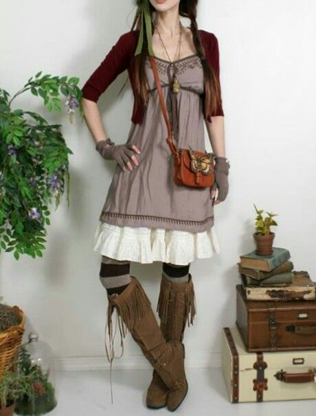 Mori girl - I'm digging the dress but not those boots