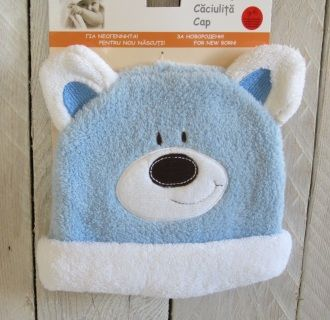 NEW! Such a cute Newborn Baby Cap, one size. Light blue, polyester. Code NB104