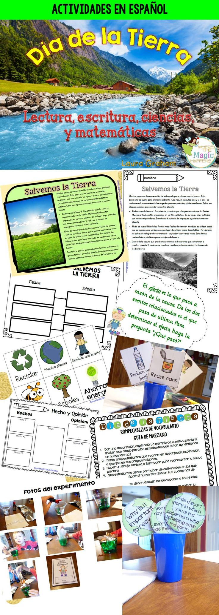 Earth Day literacy, science, and math activities in Spanish.