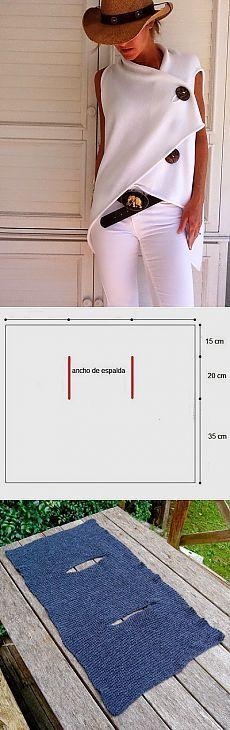 Chaleco original cruzado fácil con molde y medidas en base a un rectángulo