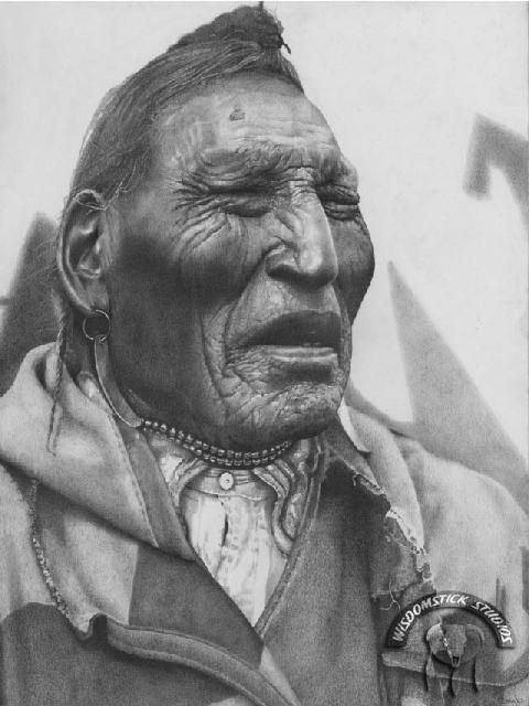 OLD BUFFALO HUNTER  The story lines on this portrait depict the weathered life and times of an old buffalo hunter. Lame Bull as he looked in the 1940's. Lame Bull was of the Blackfoot Band who roamed the plains of Alberta Canada.