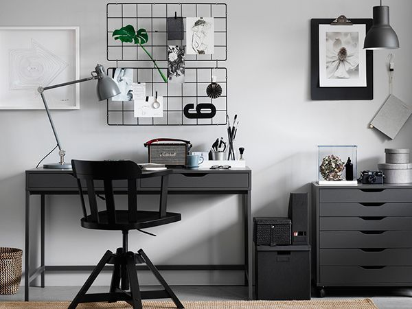 Image Result For Ikea White Desk Decor Ideas Ikea White Desk White Desk Decor Gray Home Offices