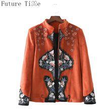 Toekomst Tijd Vrouwen Fluwelen Jassen Bloem Borduren Kimono Tops Dames Winter Warme Jassen Vintage Oranje Lange Mouw Jasje WT170(China)