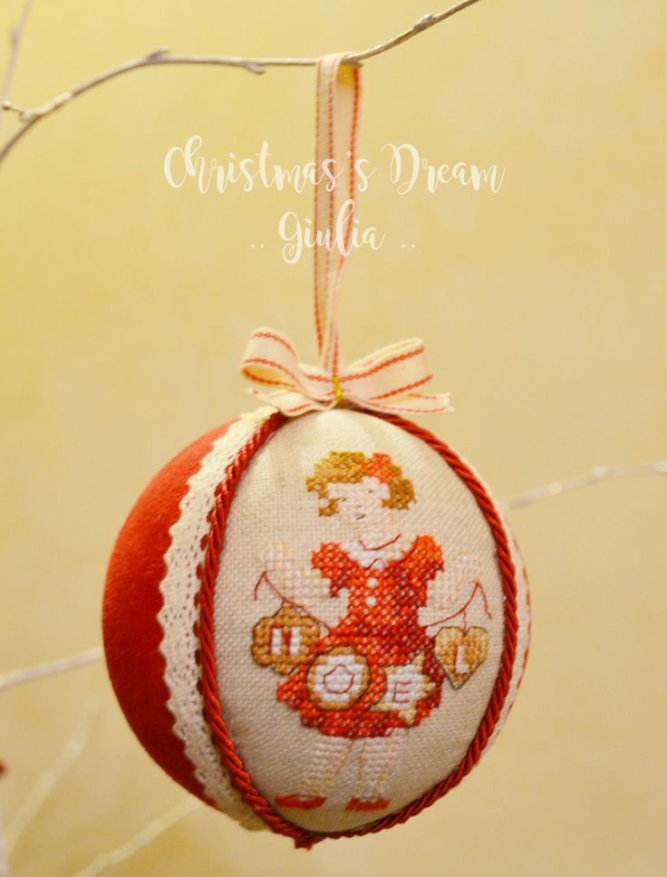 Christmas ball cross stitch :) girl noel broderie parisienne! handmade