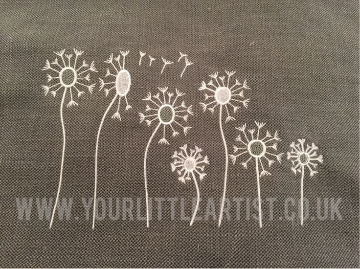 Appliqué and machine embroidery cushion cover dandelions