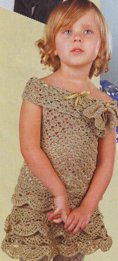 Нарядное платье для девочки вязаное крючком | петелики