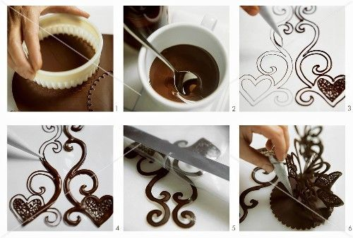 Making chocolate decoration for cakes and gateaux