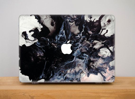Marble Macbook Case Black MacBook Pro 13 Case by PinkPiggyStudio