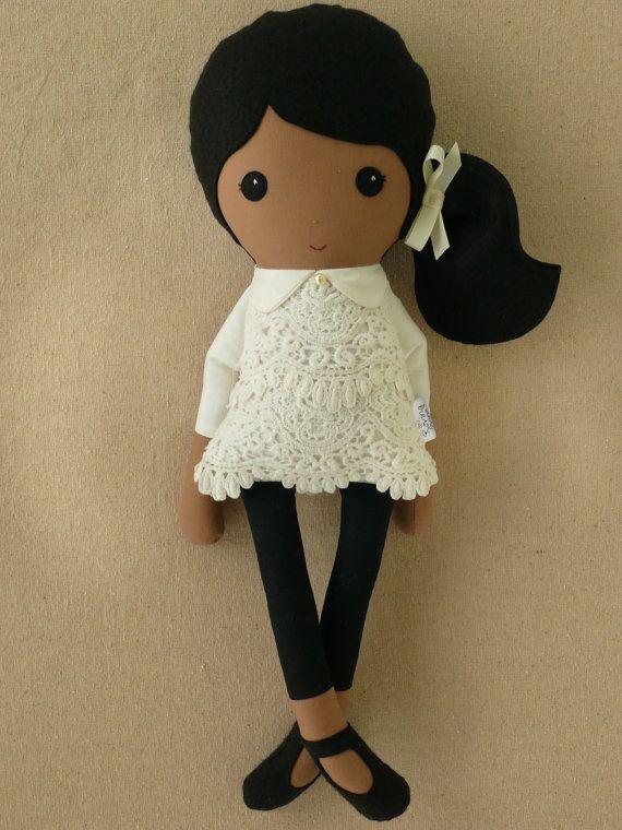 Custom Listing for Joanne - Fabric Doll Rag Doll Girl in Cream Lace Dress