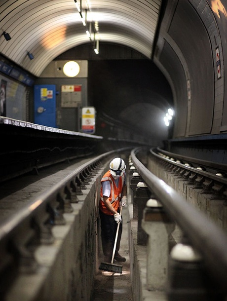 """Night worker on the track at Green Park Tube station - from """"London As You've Never Seen It"""",  by LBC"""
