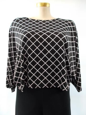 Comfy USA - Modal Black/White Windowpane Natasha Dolman Sleeve Top