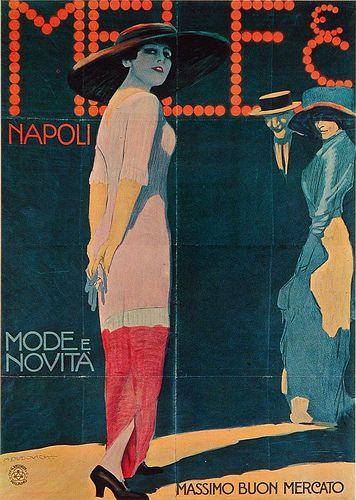 Marcello Dudovich - Mele Mode e Novità,1912  Poster ad for Mele fashion department store, Napoli.