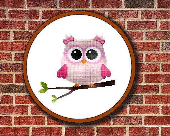Pink Owl On Branch Cross Stitch Pattern Digital by Pattaporn, $2.99