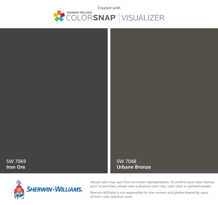 I found these colors with ColorSnap® Visualizer for iPhone by Sherwin-Williams: Iron Ore (SW 7069), Urbane Bronze (SW 7048).