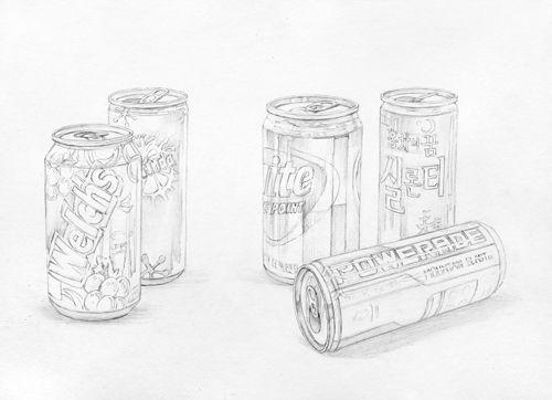 달동네 그림연구실 :: [정물수채화] 캔음료들 과정작