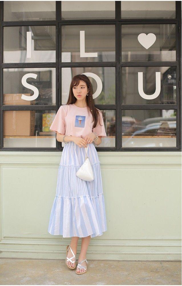 Ice Cream Tee | Boho Baby Blue Skirt | Gathered Tears | Korean Outfit