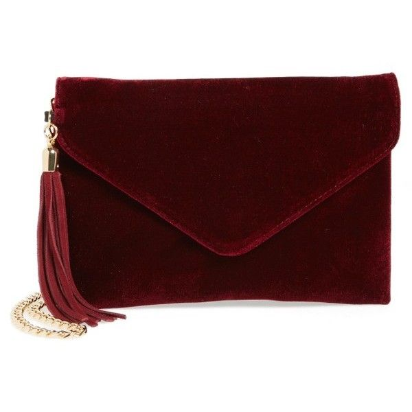 Women's Bp. Tassel Velvet Crossbody Bag found on Polyvore featuring bags, handbags, shoulder bags, burgundy, tassel purse, burgundy handbags, red crossbody purse, red cross body purse and crossbody purses