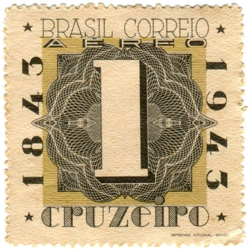 Brazil postage stamp: centenary  c. 1943, honoring 100 years of Brazilian stamps