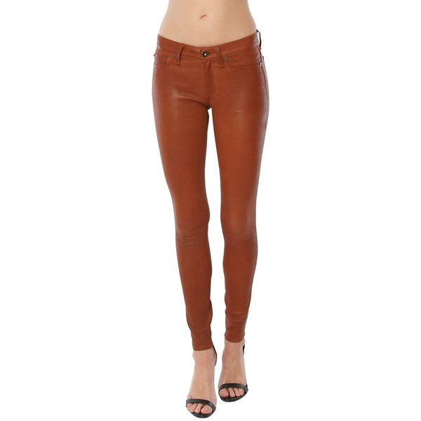 Rag & Bone/JEAN Leather Skinny Jean (1 320 AUD) ❤ liked on Polyvore featuring jeans, cognac, brown skinny jeans, skinny leg jeans, brown leather jeans, skinny fit jeans and skinny jeans