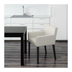 NILS Chair with armrests, black, Blekinge white - IKEA