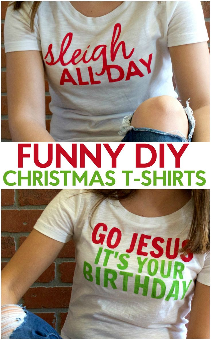 Funny DIY Christmas T-Shirts by A Little Craft in Your Day #decoartprojects
