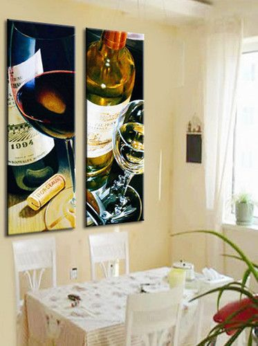 Wine Bottles & Glasses Canvas Prints Set Of 2 Dinning Room Decor Wall Art