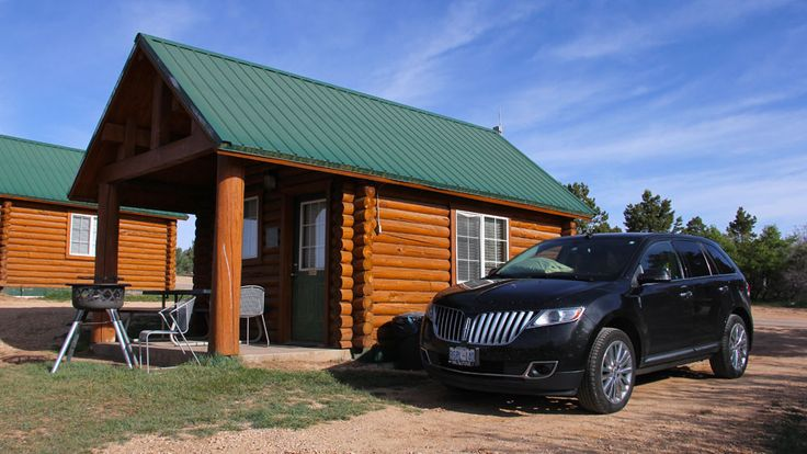 Zion Ponderosa Ranch Resort Cowboy Cabins   Zion National Park Lodging Camping One main room, porch and outdoor grill, separate bathrooms.