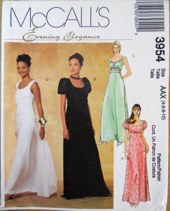 47bf567639f3 Misses evening dress pattern. Empire waist formal dress pattern. Jane Austen  style dress. Bridal gown. Bridesmaid dress.