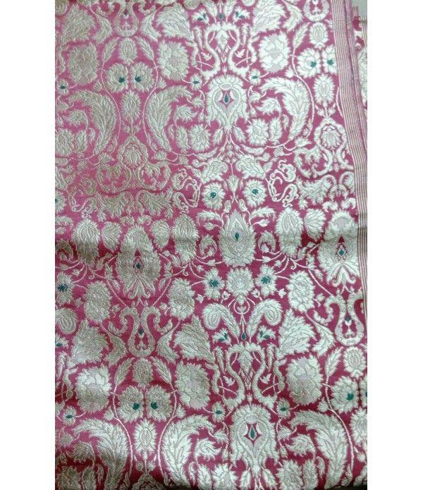 Pink Banarasi Pure Handloom Khimkhab Fabric (2.5 mtr)