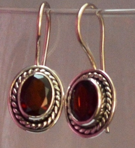 925 Sterling Silver Ethnic Earrings 8x6mm Faceted Red Garnet: Crimson Charm