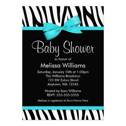 Zebra Teal Blue Printed Bow Baby Shower Invitations. Simple yet elegant