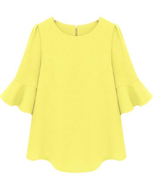 Yellow Ruffle Half Sleeve Loose Chiffon Blouse
