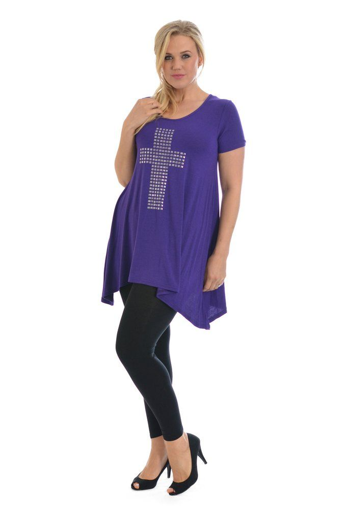 Stylish Metallic Stud Cross Tunic Plus Size Top - Purple