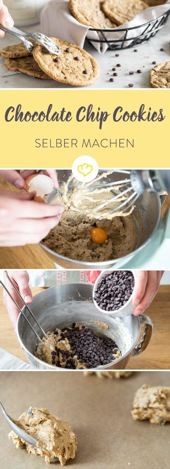 Richtig gute Chocolate Chip Cookies sind 'chewy' - also innen weich und außen knusprig. Eben so wie es das amerikanische Original velangt.