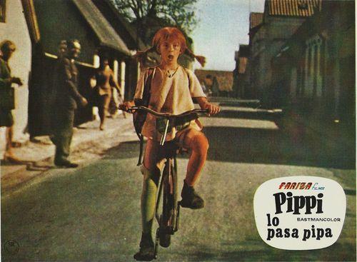 Inger Nilsson rides a bike. Pippi Longstocking
