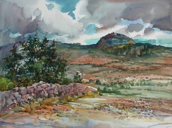 My World of Watercolors and Oils: Approaching Storm In Mexico